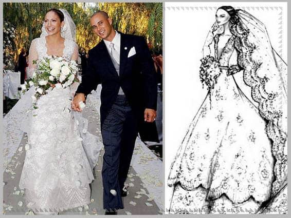 Jeniffer Lopez in abito da sposa di Valentino, 2001
