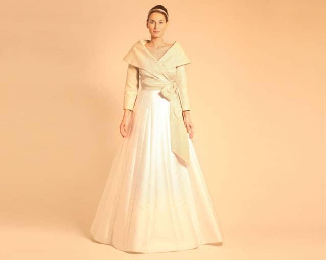completo da sposa gonna lunga giacca dorata