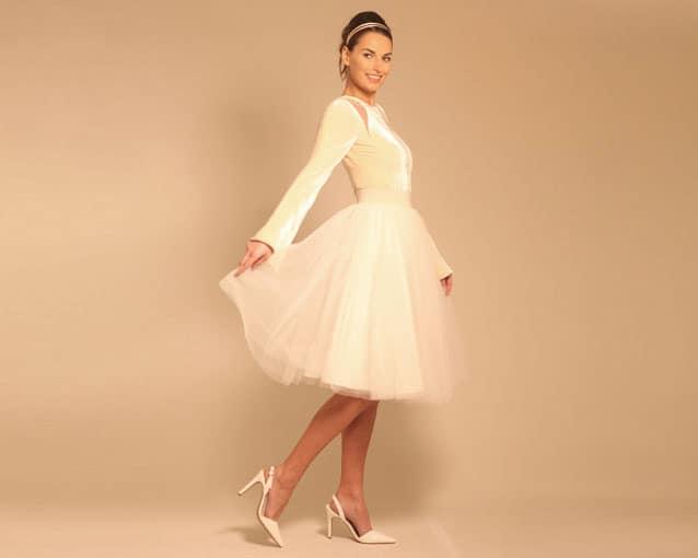abito da sposa in velluto e tulle