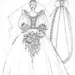 schizzo del'abito nuziale della principessa Diana