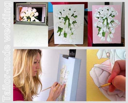 quadro con il bouquet della sposa