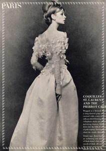 Abito da sposa di Yves Saint Laurent su Vogue. 1964.