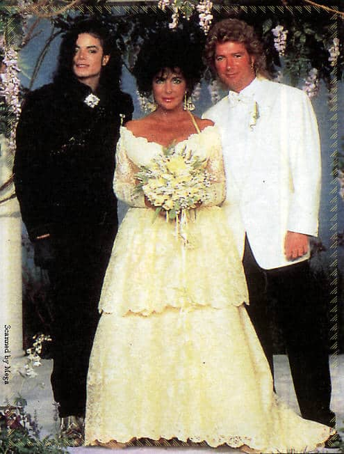 Liz Taylor in abito da sposa di Valentino 1991