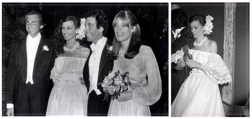 Marisa Berenson in abito da sposa di Valentino. 1976