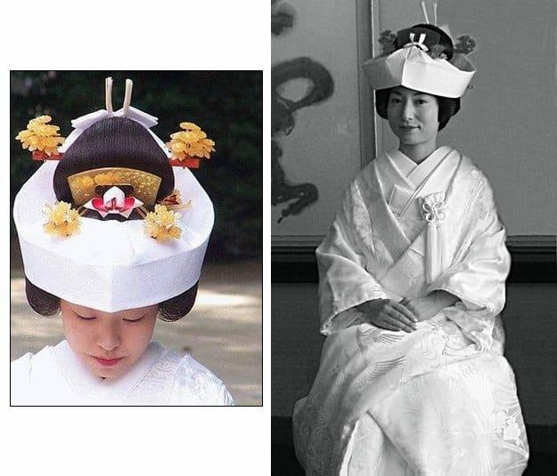 sposa giapponese con il copricapo tradizionale