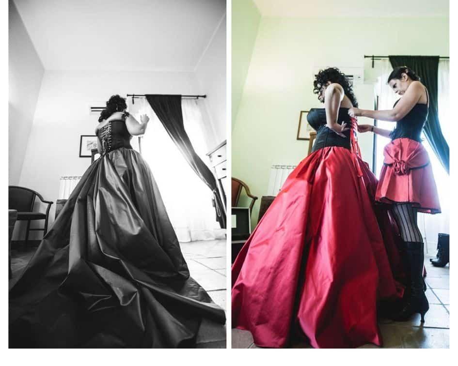 abito da sposa rosso e nero