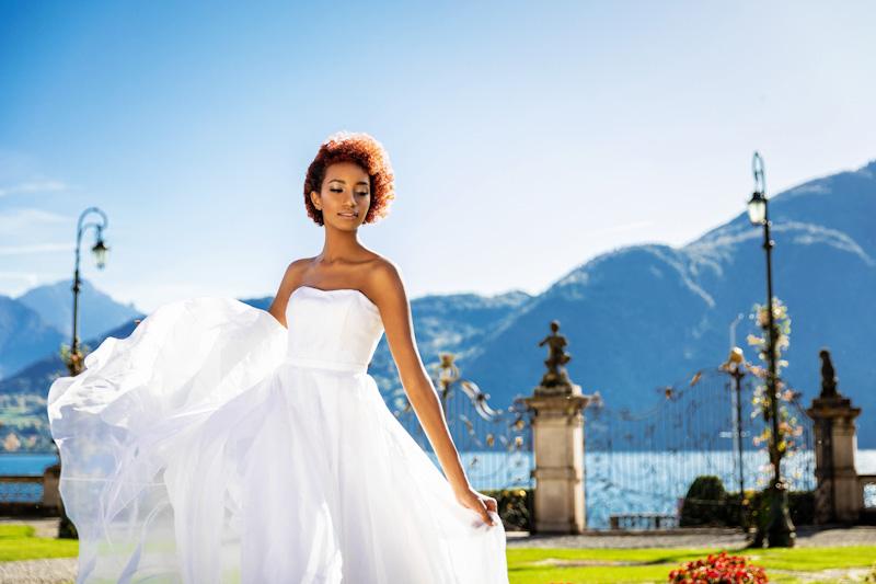 abito da sposa leggero in organza